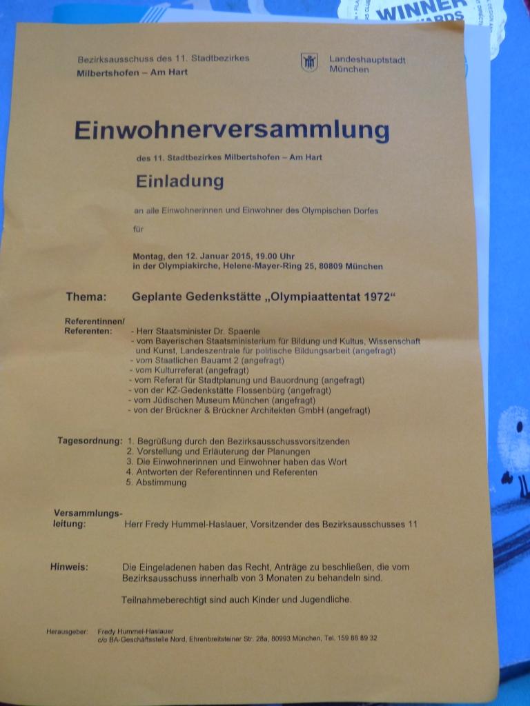 Invitation to public meeting regarding the 1972 Olympic terror memorial site (c) Daniel Zylbersztajn