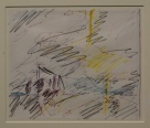 Frank Auerbach Studie nach J.M.W. Turners Fighting Temeraire, das Bild das ihm zum Malen inspirierte, in National Gallery London, Espresso Bar, Photo (c) Daniel Zylbersztajn