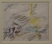 Frank Auerbach Studie nach J.M.W. Turners Fighting Temeraire, das Bild das ihm zum Malen inspirierte, in National Gallery London, Espresso Bar, Photo (c) Daniel Zylbersztajn