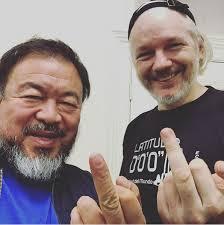 Assange + Ai weiwei Selfie Instagram @aiww (2015)