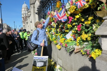 Flower laid down for London Terror attack Unite for Europe Demonstration (c) 2017 Daniel Zylbersztajn All Rights Reserved