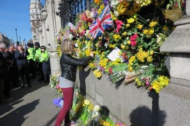 Flower laid down for London Terror attack Unite for Europe Demonstration (c) 2017 Daniel Zylbersztajn All Rights Reserved