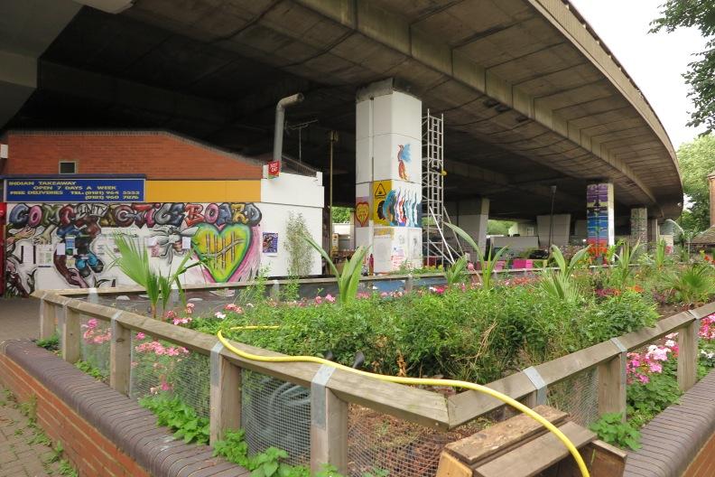 Dieser Vorgarten vpr der Hauptzone der Communitz vor demMaxillaklub unter dem Westwaz wurde nach dem Inferno bepflanzt