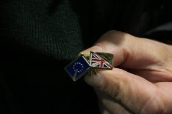Anstecknadel von dem aus Polen stammenden Künstlet Wojciech S Sobczyński, 74. Ich habe einen Stern und die EU Flagge herausgearbeitetohne UK IMG_5322